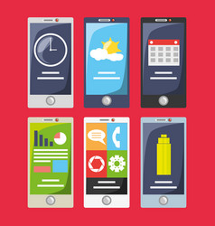 Smartphone with different electronic tools vector