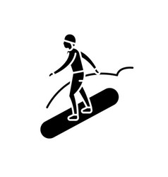 snowboard black icon sign on isolated vector image
