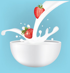 strawberries in milk splash vector image