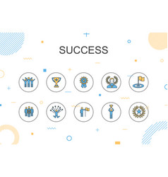 Success trendy infographic template thin line vector