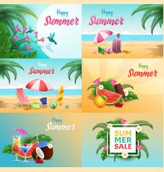 summer relax banners set seaside resort vector image