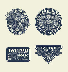 Tattoo emblems labels and t-shirt graphic set vector