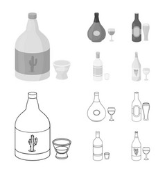 Tequila cognac beer vodkaalcohol set vector