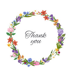 thank you spring flowers wreath floral card with vector image
