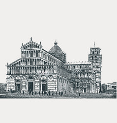 the architectural ensemble of the pisa vector image