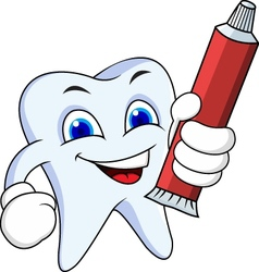 Tooth cartoon with tooth paste vector