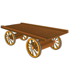 Vintage wooden cart isolated vector