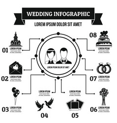 Wedding infographic concept simple style vector