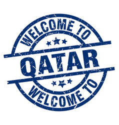 Welcome to qatar blue stamp vector
