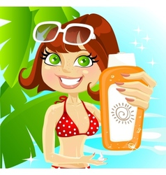 Woman presents cream for sunburn vector image