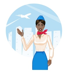 Young cheerful african american stewardess eps10 vector image