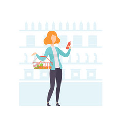 young woman choosing products at grocery store vector image