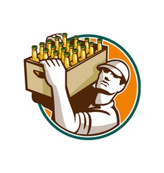 Bartender Carrying Beer Case Retro vector image vector image