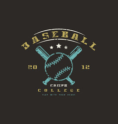 emblem of baseball college team vector image vector image