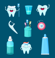 funny characters cartoon teeth with vector image vector image