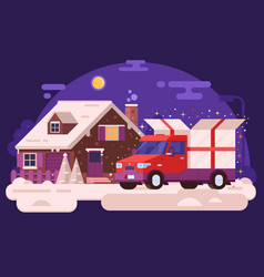 gift delivery car concept vector image