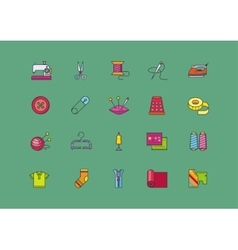 Set Icons of Creative Sewing Flat Style vector image