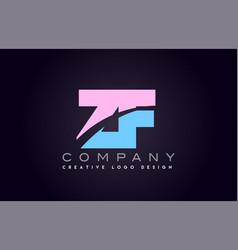 zf alphabet letter join joined letter logo design vector image vector image