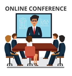 business people meeting web conference in office vector image