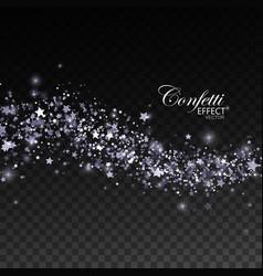 Glittering silver stream of sparkles vector