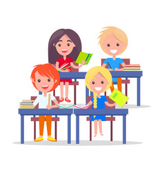 happy schoolchildren in classroom isolated on vector image