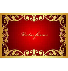 red and gold floral frame vector image vector image