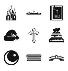 religion sign icons set simple style vector image vector image