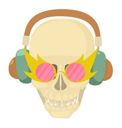 skull with headphones icon cartoon style vector image vector image