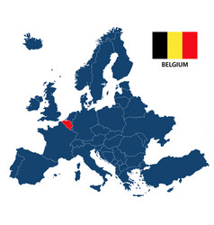 map of europe with highlighted belgium vector image