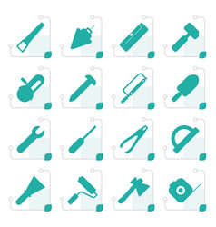 stylized construction and building tools icons vector image vector image