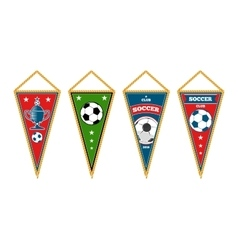 Triangle soccer pennants set isolated white vector image