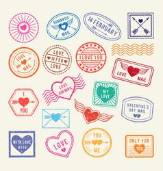 vintage romantic postal stamps love vector image