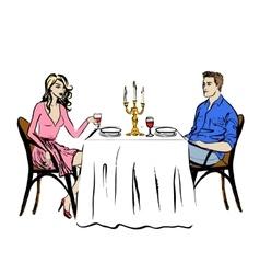Dating in restaurant vector image