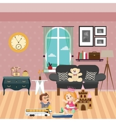 kids play in room with lot of toys and dolls sofa vector image