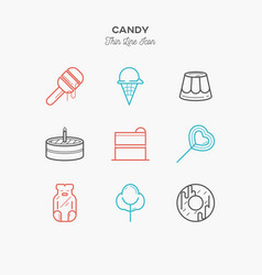 Line icons of candy products from cake and sweets vector