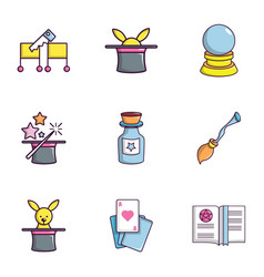 magician icons set flat style vector image