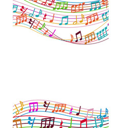 musical background with colorful music notes and vector image