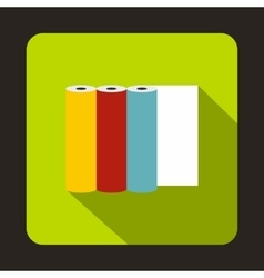 Rolls of colored paper icon flat style vector image vector image