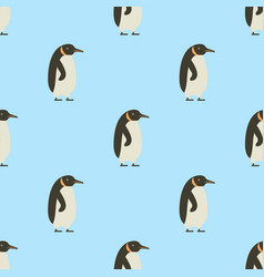 seamless pattern of penguins on blue background vector image vector image