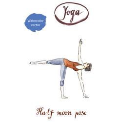 sporty yoga girl in ardha chandrasana vector image vector image