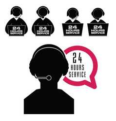 24 hour service with people icon set vector image