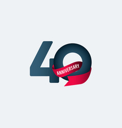 40 years anniversary celebration ribbon gradient vector