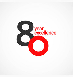 80 year anniversary excellence template design vector