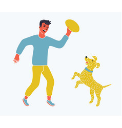 A boy running with his pet dog vector