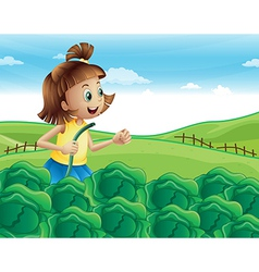 A young girl watering her plants at the garden vector
