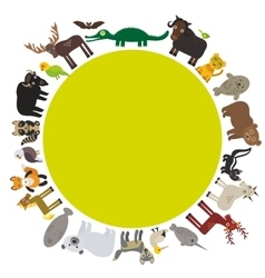 Animal round frame bison bat manatee fox elk vector image