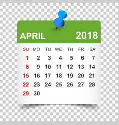 april 2018 calendar calendar sticker design vector image