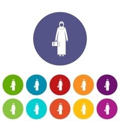 Arabic woman set icons vector