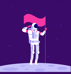 astronaut on moon cosmonaut holging flag on vector image