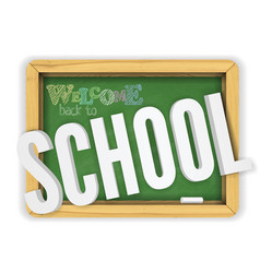 back to school green textured chalkboard welcomes vector image